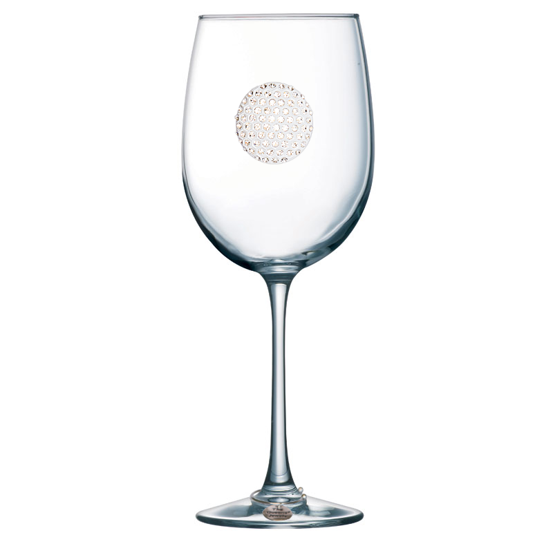 Golf Ball Jeweled Stemmed Wine Glass