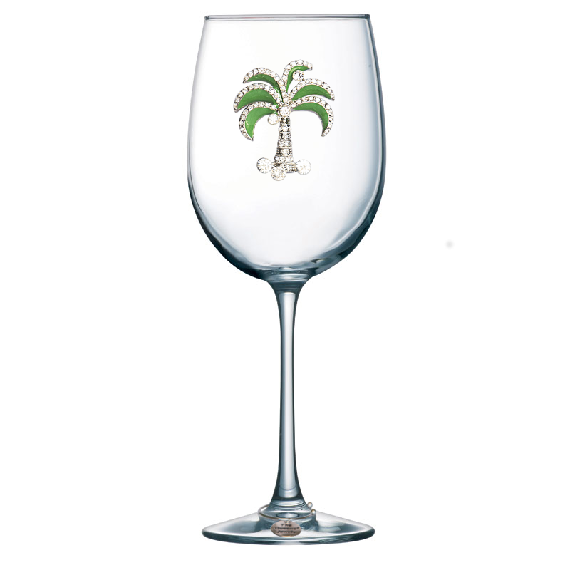 Green Diamond Palm Jeweled Stemmed Wine Glass
