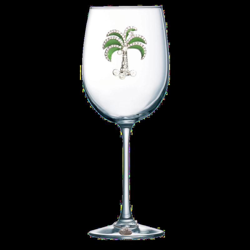 Green Diamond Palm Jeweled Stemmed Wine Glass