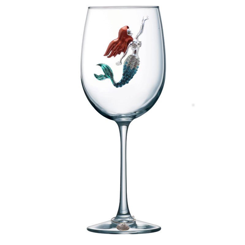 Mermaid Jeweled Stemmed Wine Glass
