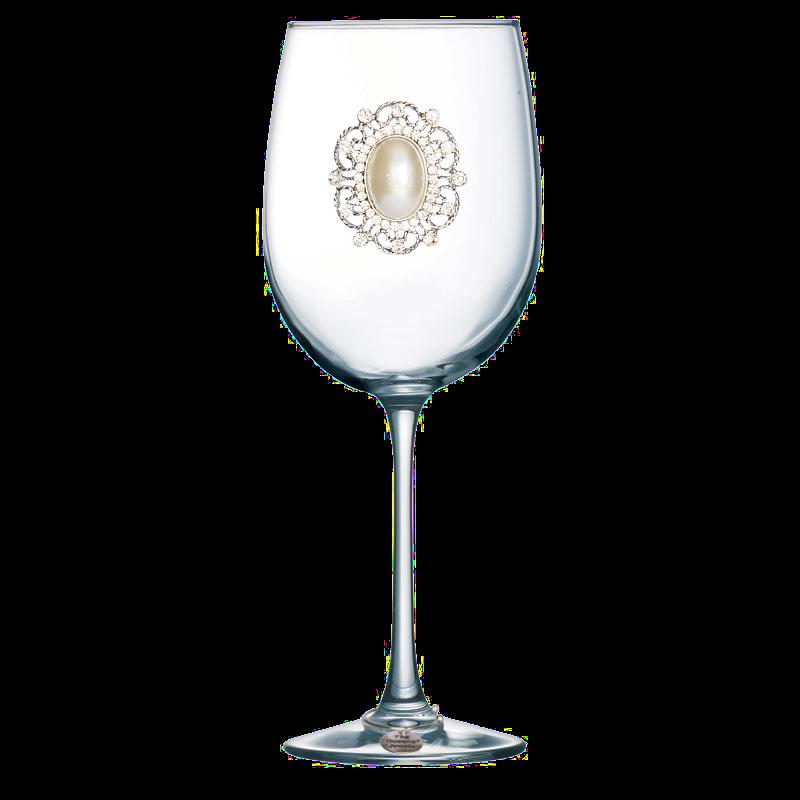 Oval Pearl Jeweled Stemmed Wine Glass