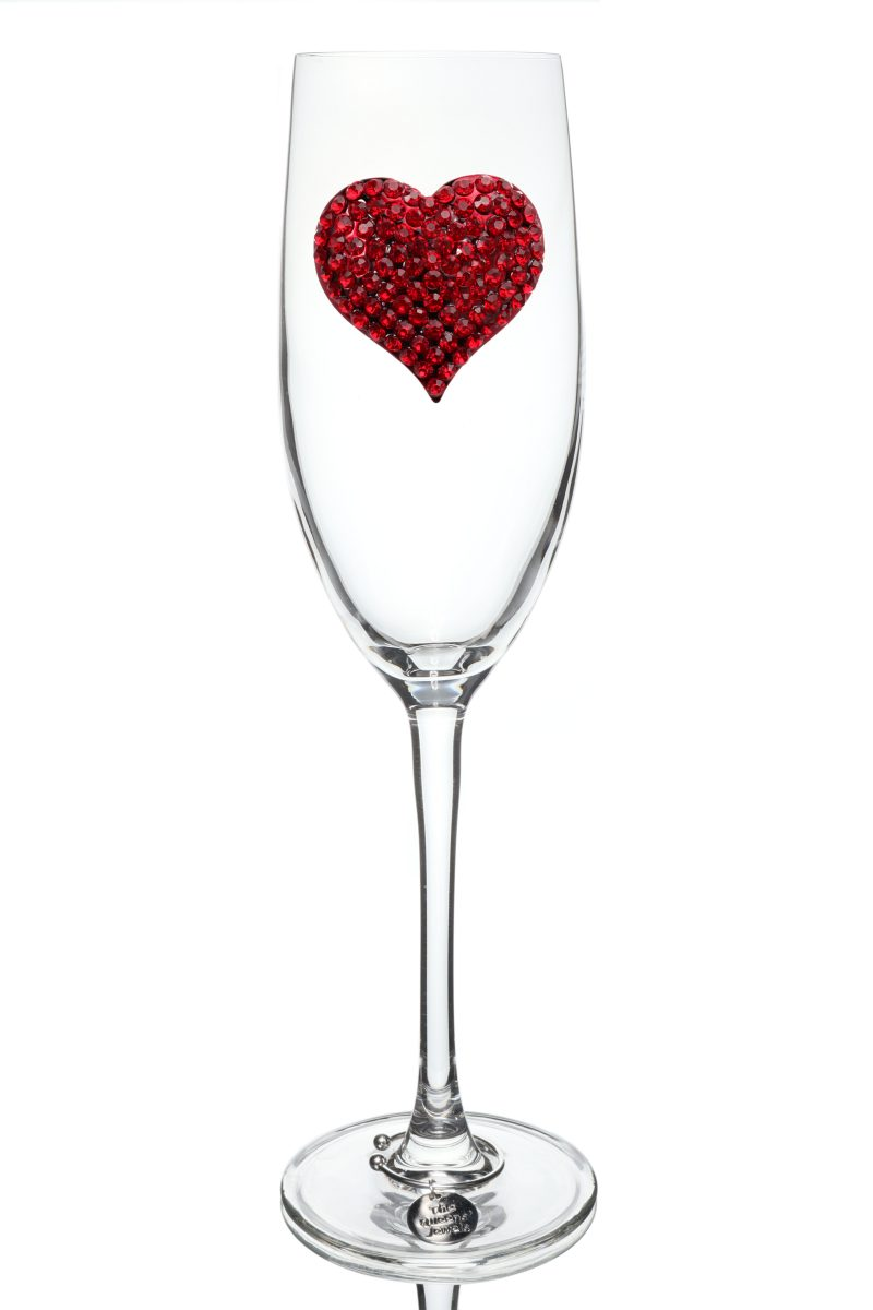 Red Heart Jeweled Champagne Glass