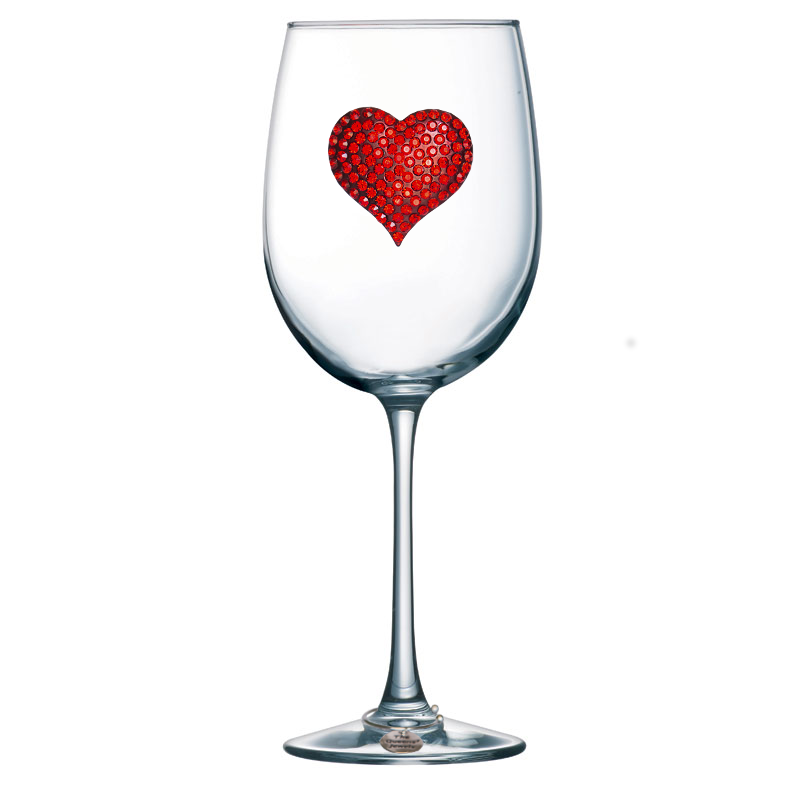 Red Heart Jeweled Stemmed Wine Glass