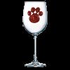 Red Paw Print Jeweled Stemmed Wine Glass