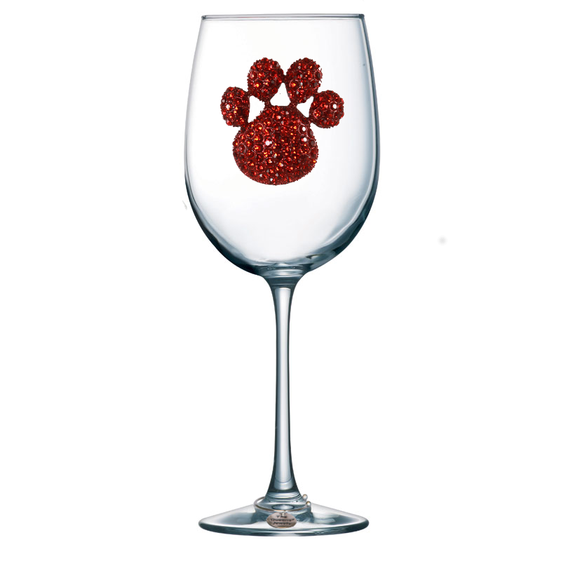 Red Paw Print Jeweled Stemmed Wine Glass