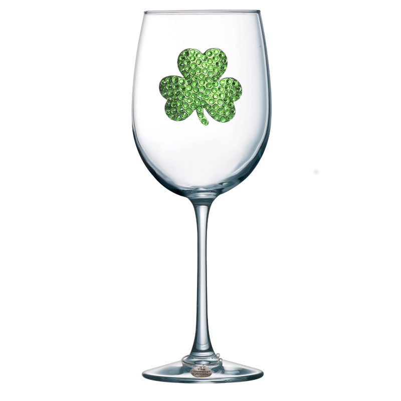 Shamrock Jeweled Stemmed Wine Glass