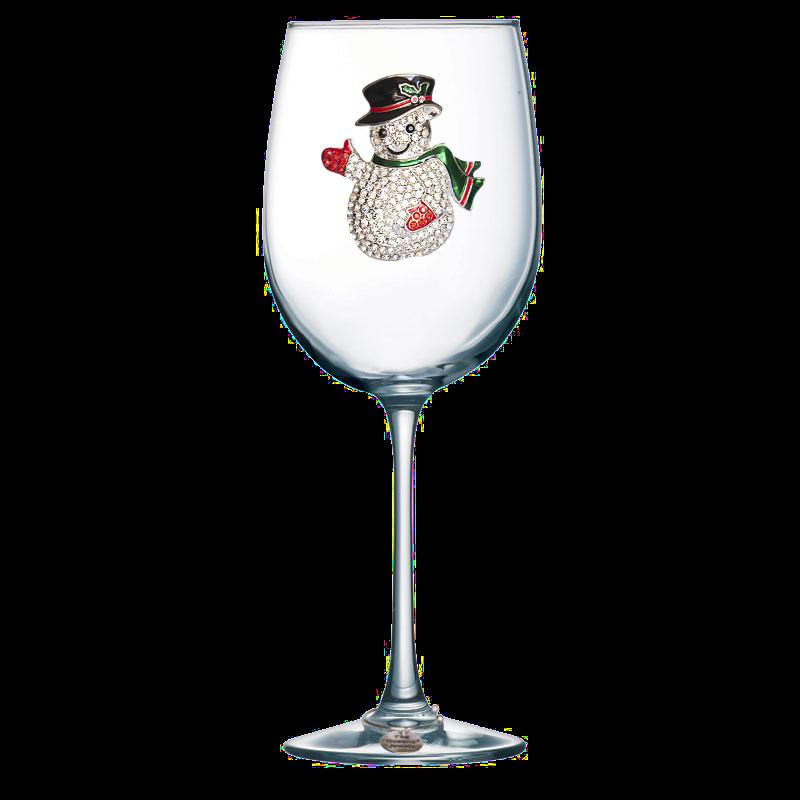 Snowman Jeweled Stemmed Wine Glass