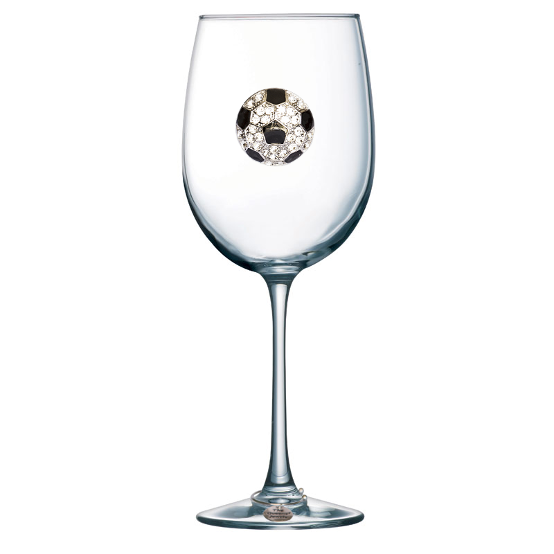 Soccer Ball Jeweled Stemmed Wine Glass