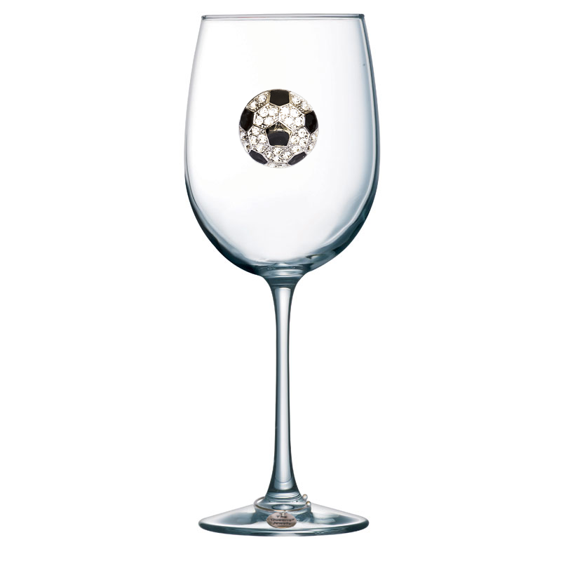 Soccer Ball Jeweled Stemmed Wine Glass