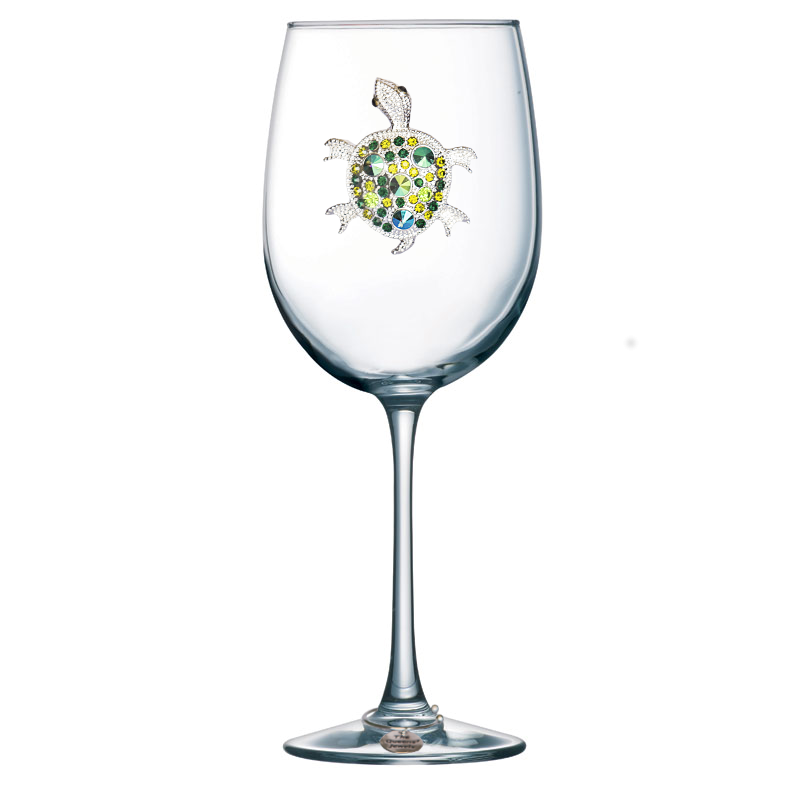 Turtle Jeweled Stemmed Wine Glass