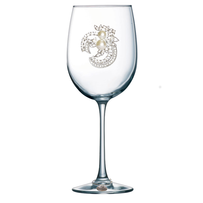 Two Pearl Jeweled Stemmed Wine Glass
