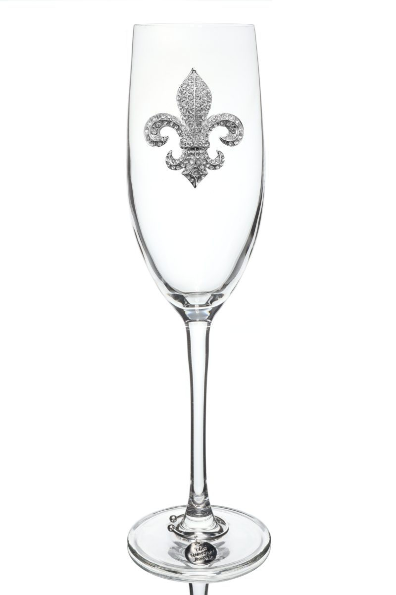 Diamond Fleur de Lis Jeweled Champagne Glass