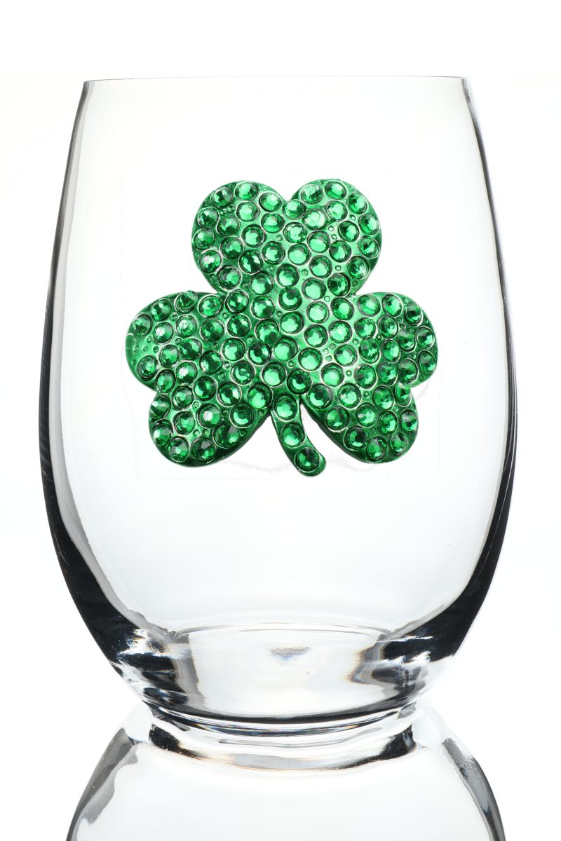 Shamrock Jeweled Stemless Wine Glass
