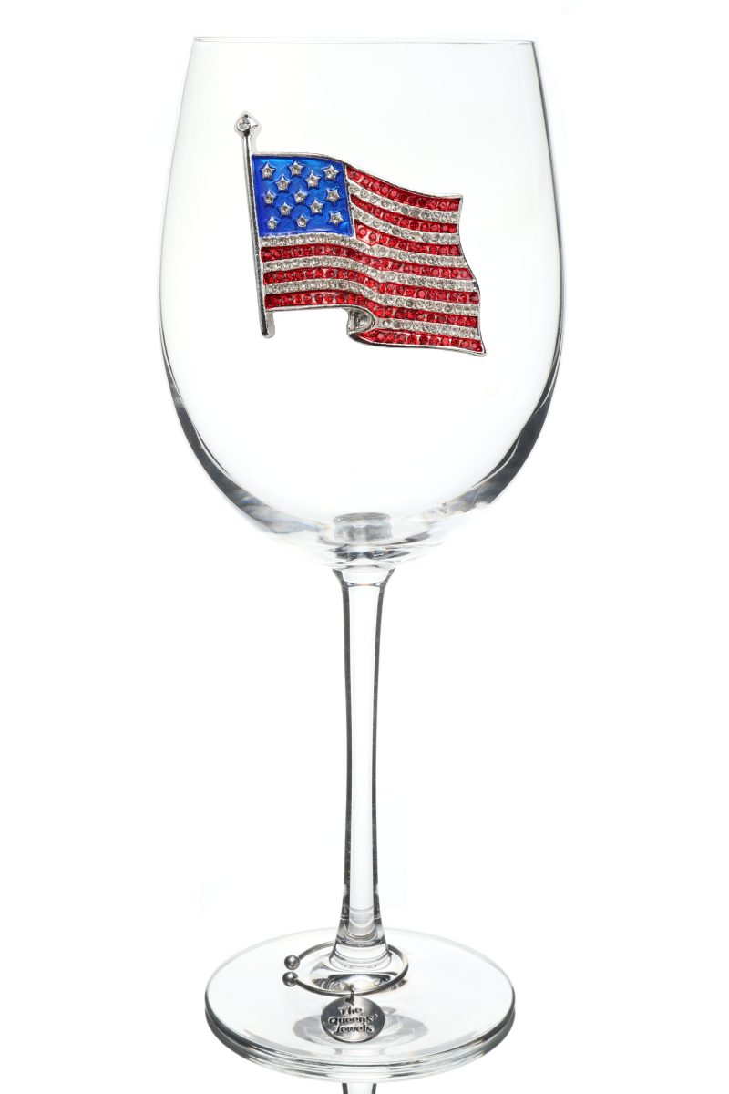 American Flag Jeweled Stemmed Wine Glass
