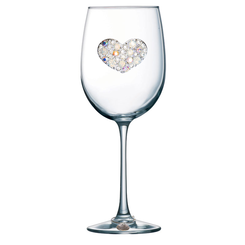 Multi Stone Heart Jeweled Stemmed Wine Glass