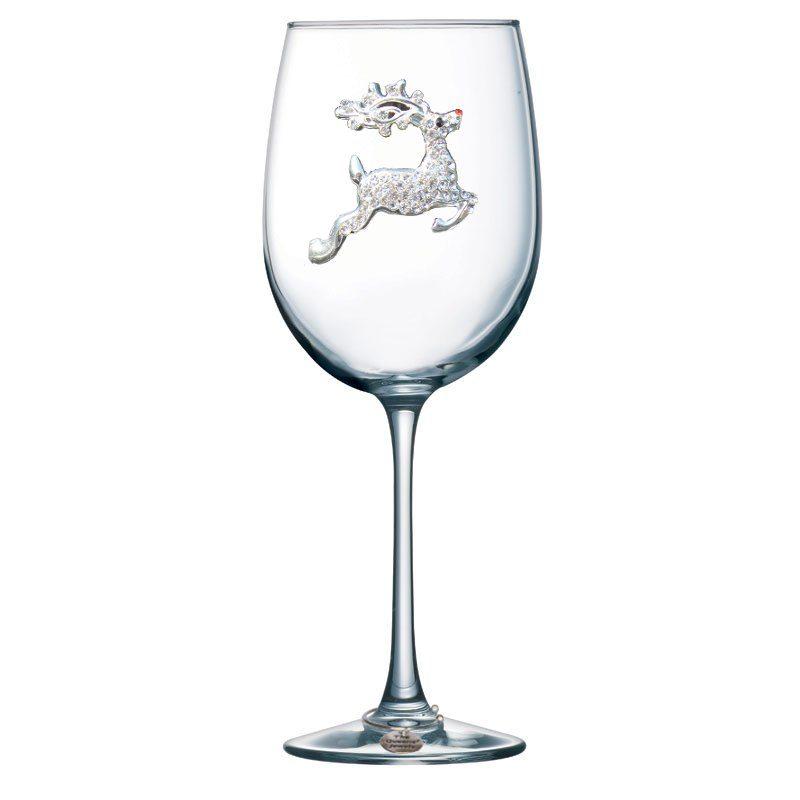 Reindeer Jeweled Stemmed Wine Glass