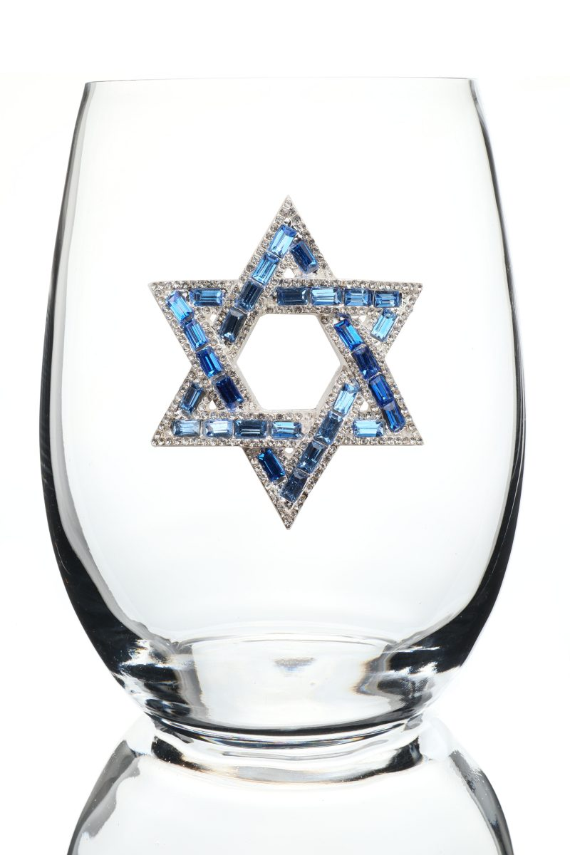 Star of David Jeweled Stemless Wine Glass