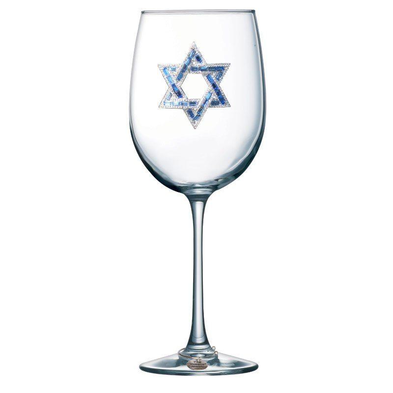 Star of David Jeweled Stemmed Wine Glass
