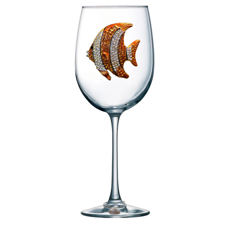 Gold Tropical Fish Stemmed Jeweled Wine Glass
