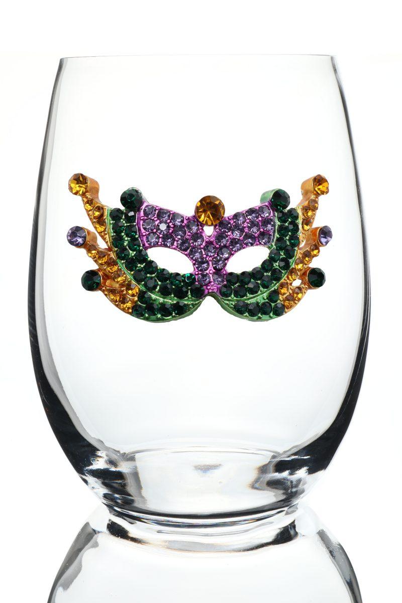Mardi Gras Jeweled Stemless Wine Glass
