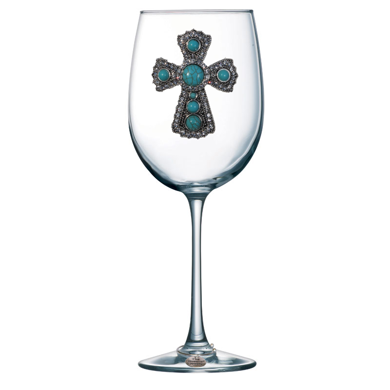 Turquoise Cross Jeweled Stemmed Wine Glass