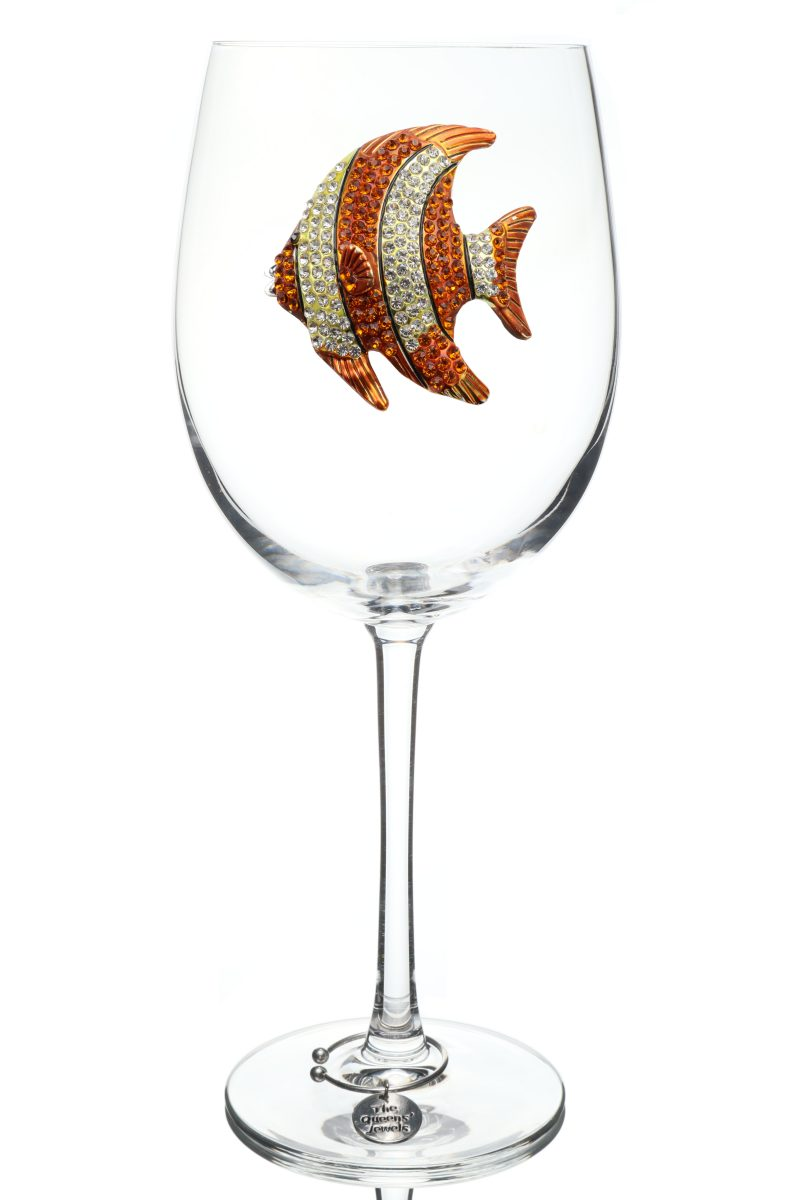 Gold Tropical Fish Jeweled Stemmed Wine Glass