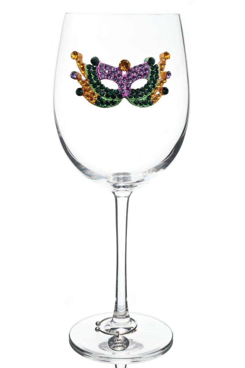Mardi Gras Mask Jeweled Stemmed Wine Glass