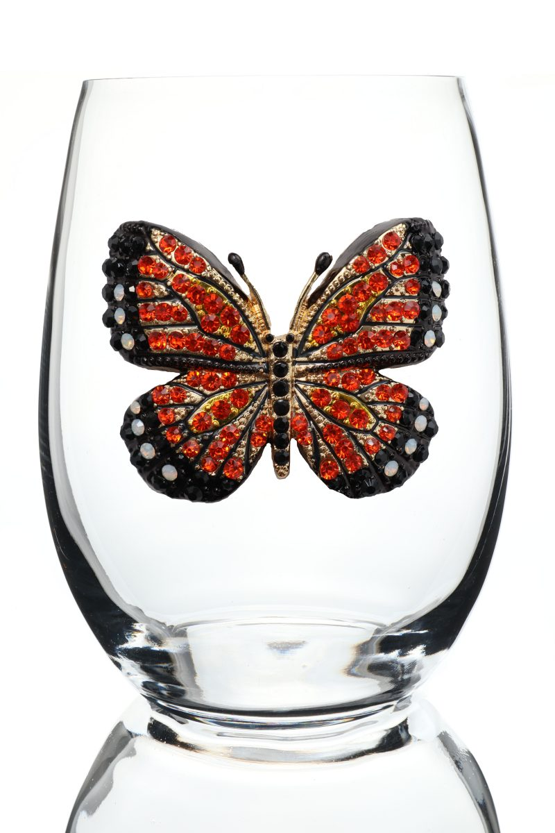 Monarch Butterfly Jeweled Stemless Wine Glass