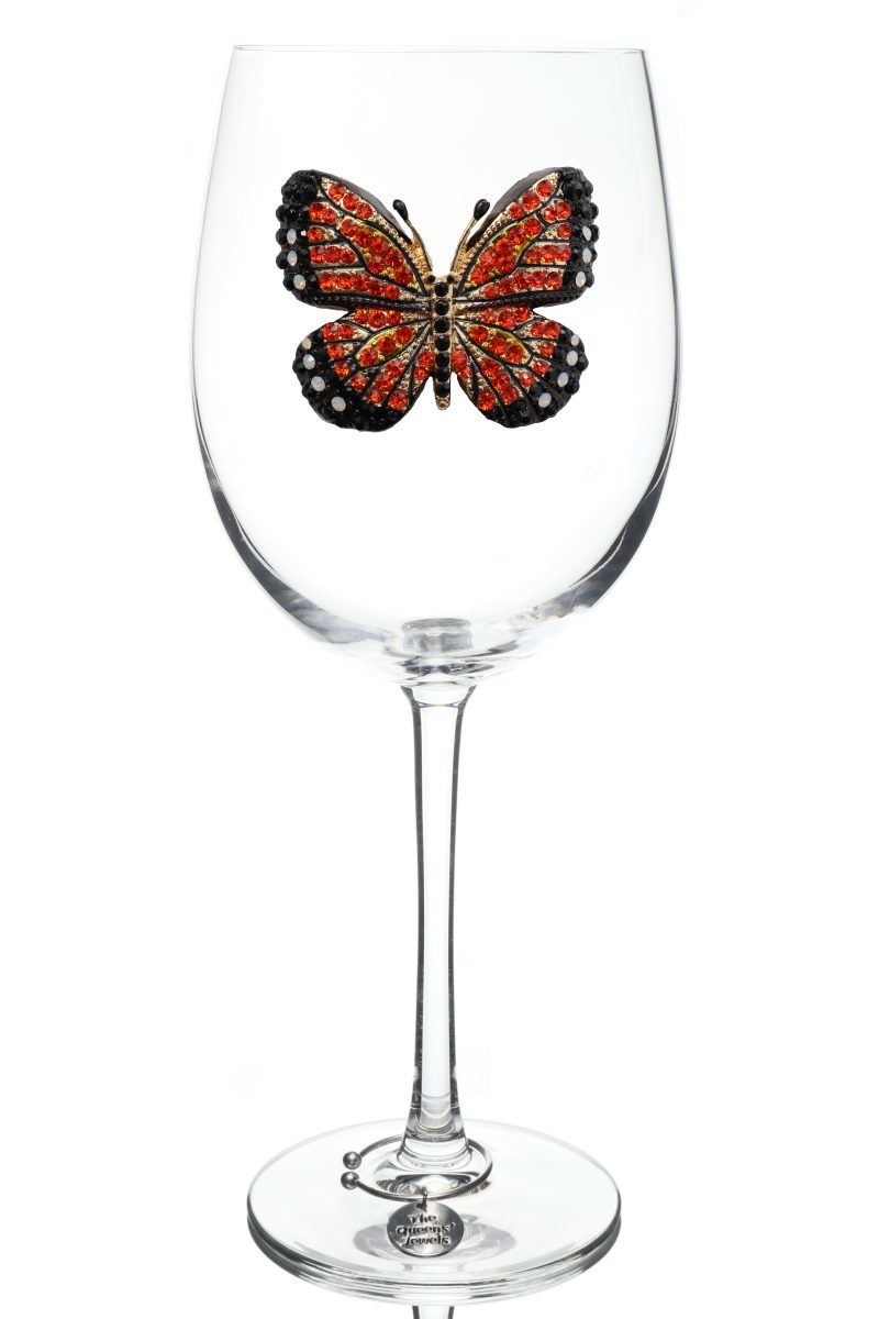 Monarch Butterfly Jeweled Stemmed Wine Glass