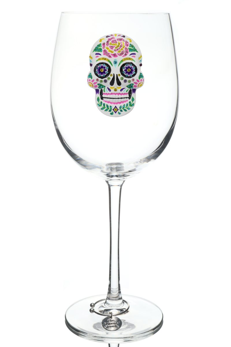 Sugar Skull Jeweled Stemmed Wine Glass