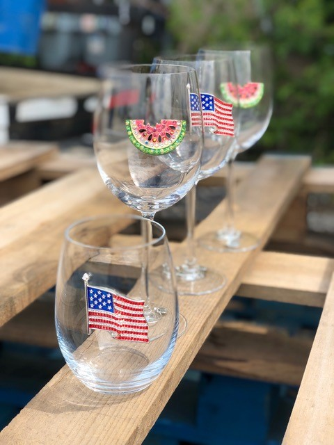 Flag and Watermelon Jeweled Wine Glasses