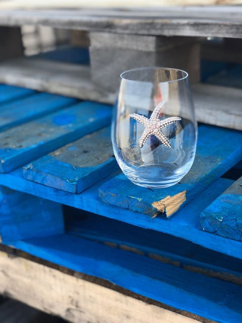 Starfish Stemless Jeweled Wine Glass on Blue Pallet