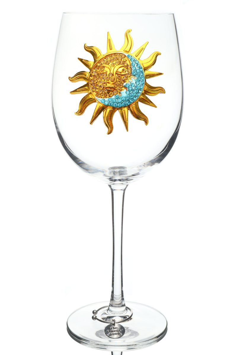 Sun and Moon Jeweled Stemmed Wine Glass