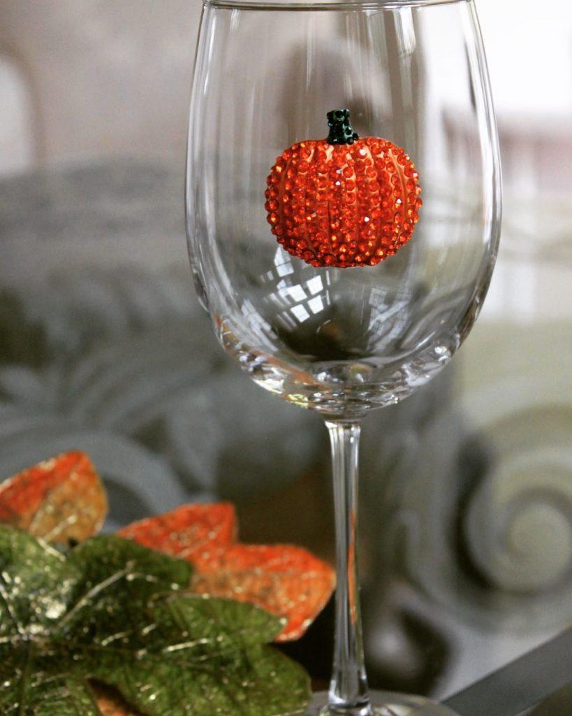 Pumpin Jeweled Stemmed Wine Glass