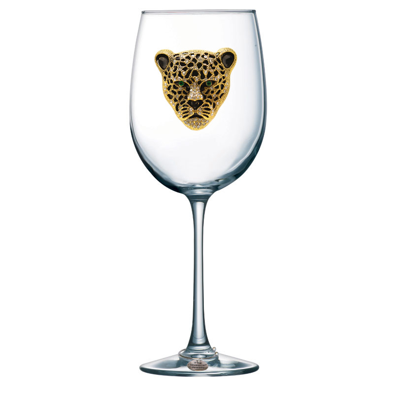 Gold and Black Leopard Jeweled Stemmed Wine Glass