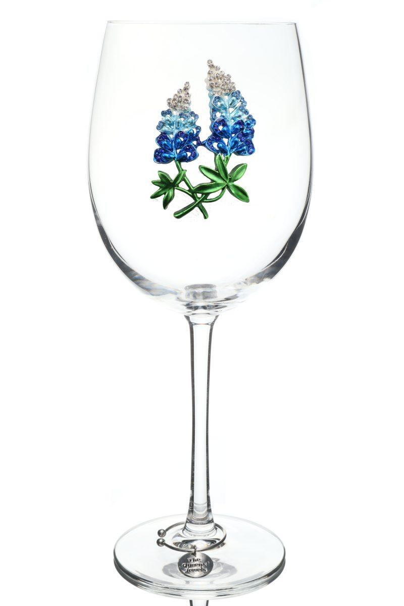 Bluebonnet Jeweled Stemmed Wine Glass