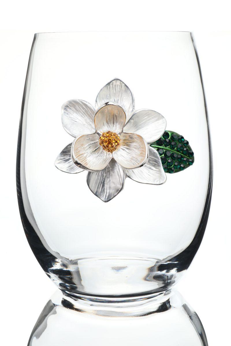 Magnolia Jeweled Stemless Wine Glass