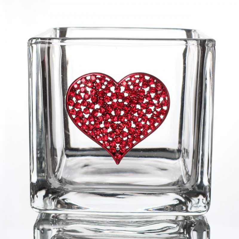 Red Heart Jeweled Vase Candle Holder