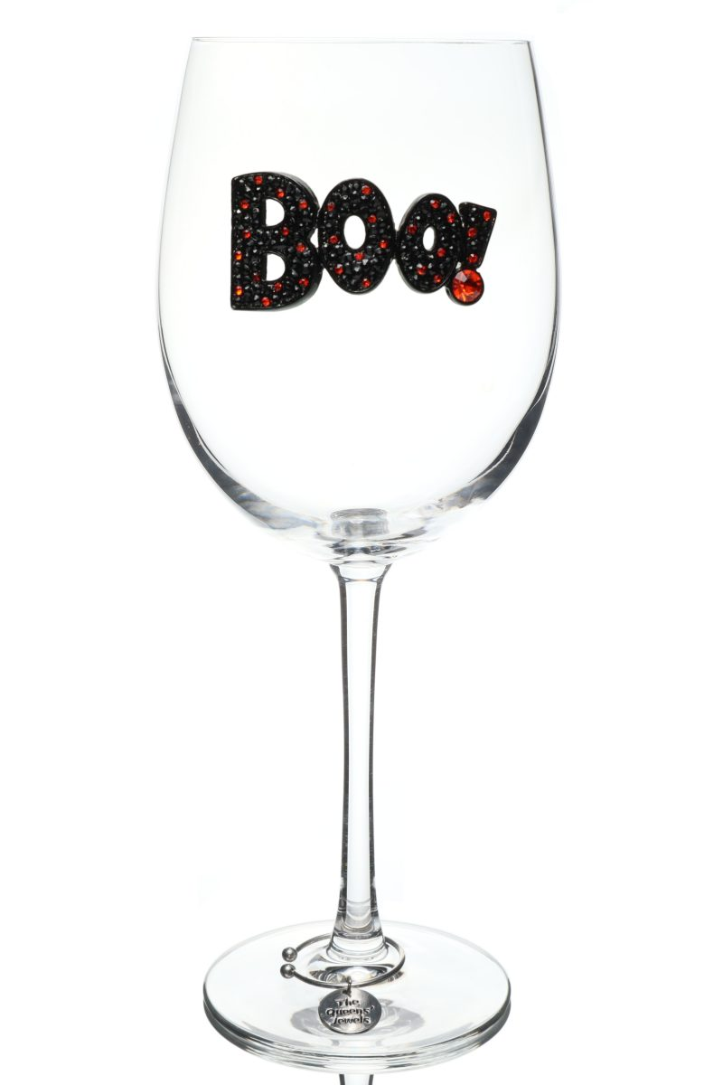 Boo Halloween Stemmed Wine Glass